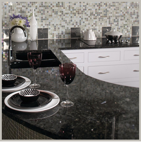 Volga Blue Granite Slab Countertops.